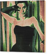 Sophia Loren - Green Pop Art Wood Print