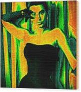 Sophia Loren - Neon Pop Art Wood Print