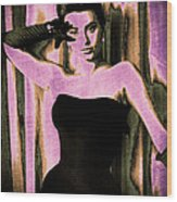 Sophia Loren - Purple Pop Art Wood Print