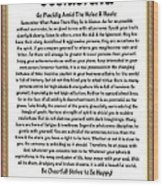 Sophistcated Medieval Style Desiderata Wood Print