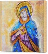Sorrowful Immaculate Heart Wood Print by Myrna Migala