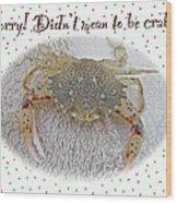 Sorry I Was Crabby Greeting Card - Calico Crab Wood Print