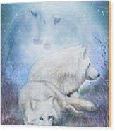 Soul Mates - White Wolves Wood Print