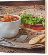 Soup And Sandwich Wood Print