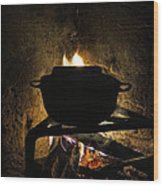 Soup's On Wood Print