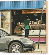 Soups's On Montreal's Favorite Fast Food Road Side Attractions Rue St. Denis Resto Urban City Scene  Wood Print