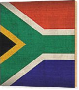 South Africa Flag Vintage Distressed Finish Wood Print