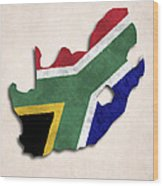 South Africa Map Art With Flag Design Wood Print