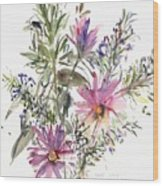 South African Daisies And Lavander Wood Print