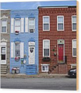 South Baltimore Row Homes Wood Print