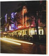 South Beach After Dark Wood Print