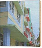 South Beach Facades Wood Print