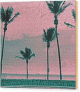 South Beach Miami Tropical Art Deco Five Palms Wood Print