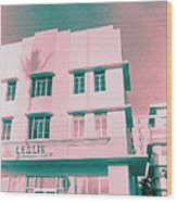 South Beach Miami Leslie Tropical Art Deco Hotel Wood Print