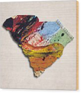 South Carolina Map Art - Painted Map Of South Carolina Wood Print