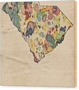 South Carolina Map Vintage Watercolor Wood Print