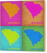 South Carolina Pop Art Map 1 Wood Print