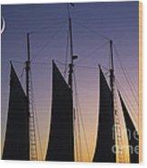 South Carolina Schooner Sunset Wood Print