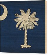 South Carolina State Flag Art On Worn Canvas Wood Print