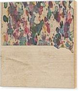 South Dakota Map Vintage Watercolor Wood Print