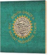 South Dakota State Flag Art On Worn Canvas Wood Print