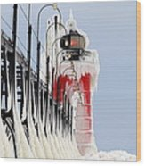 South Haven Lighthouse Frozen Ice Castle Wood Print