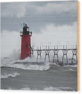 South Haven Pier Light In A Storm Wood Print