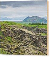 South Iceland Landscape Pingvellir Wood Print