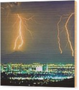 South Mountain Lightning Strike Phoenix Az Wood Print