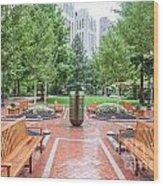 South Plaza Fountain Wood Print