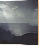 South Rim Grand Canyon Storm Clouds And Light On Rock Formations Wood Print