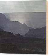 South Rim Grand Canyon Storm Clouds And Sunray Light On Rock For Wood Print