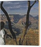 South Rim Grand Canyon Sunset Light On Rock Formations With Woma Wood Print