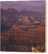 South Rim Grand Canyon Taken Near Yavapai Point Sunset Light On  Wood Print
