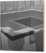 South Tower Pool In Black And White Wood Print