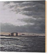 Southampton Docks From Weston Shore Winter Sunset Wood Print