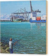 Southampton Western Docks Container Terminal As Seen From Marchwood Wood Print