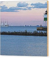 Southeast Guidewall Lighthouse At Sunset And Tall Ship Windy Wood Print