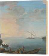 Southern Mediterranean Seascape With Boats And Figures At Sunset Wood Print