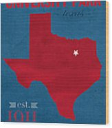 Southern Methodist University Mustangs Dallas Texas College Town State Map Poster Series No 098 Wood Print