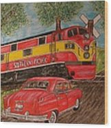 Southern Pacific Train 1951 Kaiser Frazer Car Rr Crossing Wood Print
