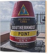 Southernmost Point Marker Wood Print