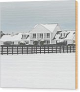Snow Covered Southfork Ranch   Wood Print