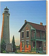 Southport Lighthouse On Simmons Island Wood Print