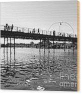 Southport Pier Across The Marine Lake Bw Wood Print