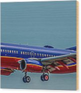 Southwest 737 Landing Wood Print