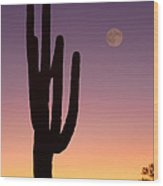 Southwest Desert Moon Glow Wood Print