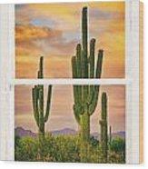 Southwest Desert Sunset White Rustic Distressed Window Art Wood Print
