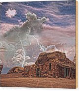 Southwest Navajo Rock House And Lightning Strikes Hdr Wood Print