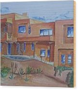 Southwestern Home Illustration Wood Print